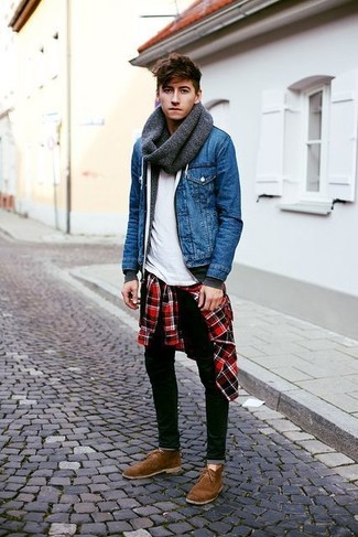 How to wear: blue denim jacket, charcoal hoodie, red and black plaid long sleeve shirt, white crew-neck t-shirt