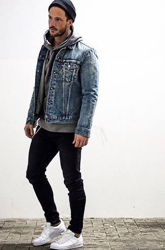 Men's Blue Denim Jacket, Grey Hoodie, Black Skinny Jeans, White ...