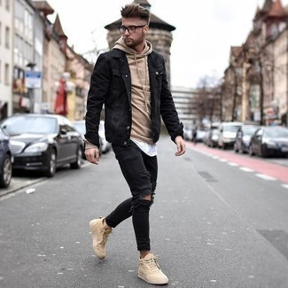 Tan Hoodie with Skinny Jeans Outfits For Men: Dress in a tan hoodie and skinny jeans to pull together a really sharp and bold casual ensemble. Now all you need is a good pair of tan leather high top sneakers to complement your look.