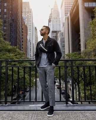Men's Looks & Outfits: What To Wear In 2020: To create an off-duty getup with a modernized spin, try teaming a black denim jacket with grey chinos. Inject a touch of stylish effortlessness into this outfit by rounding off with a pair of black canvas low top sneakers.