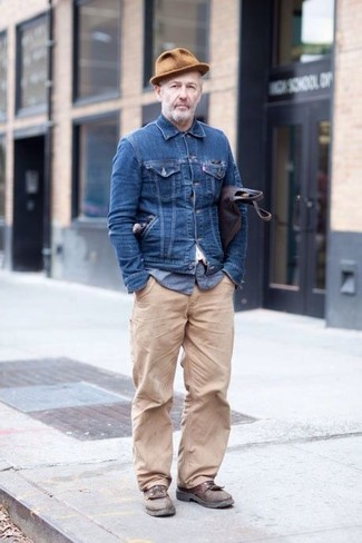 How to wear: navy denim jacket, blue seersucker long sleeve shirt, beige chinos, brown leather derby shoes