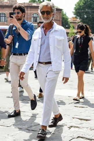 How to Wear Dark Brown Leather Monks: This laid-back pairing of a white denim jacket and white chinos is a safe bet when you need to look stylish but have no time to spare. To give your overall look a smarter finish, complete your look with a pair of dark brown leather monks.