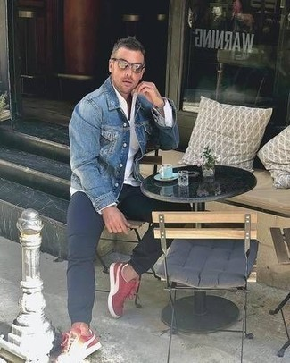 How to Wear a Blue Denim Jacket For Men: If it's comfort and practicality that you're searching for in menswear, go for a blue denim jacket and navy chinos. Balance your getup with more casual footwear, like this pair of red and white canvas low top sneakers.