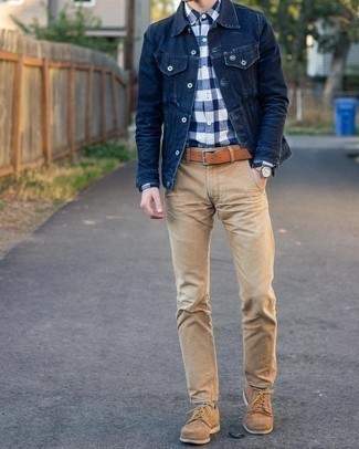 White and Navy Gingham Long Sleeve Shirt Outfits For Men: To don a relaxed casual outfit with a modernized spin, you can rock a white and navy gingham long sleeve shirt and khaki chinos. Rounding off with a pair of tan suede derby shoes is an effective way to breathe an added touch of style into your look.