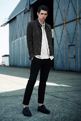How to wear: charcoal denim jacket, white print long sleeve shirt, white crew-neck t-shirt, black chinos