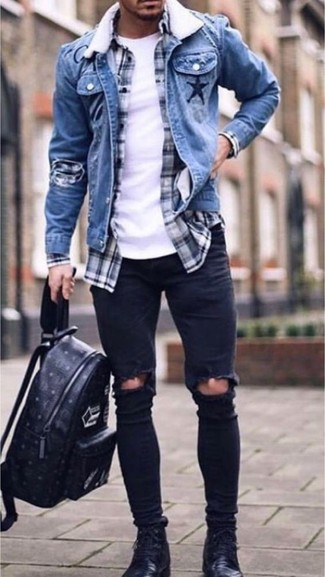 How to wear: blue denim jacket, navy and white plaid long sleeve shirt, white crew-neck t-shirt, black ripped skinny jeans