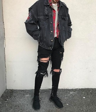 How to wear: black denim jacket, red plaid long sleeve shirt, white and black horizontal striped crew-neck t-shirt, black ripped skinny jeans