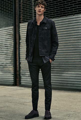 How to wear: black denim jacket, charcoal chambray long sleeve shirt, black crew-neck t-shirt, black chinos