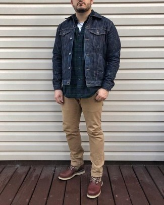 How to Wear Brown Leather Casual Boots For Men: For a casually dapper outfit, wear a navy denim jacket and khaki chinos — these two pieces play really well together. On the shoe front, go for something on the more elegant end of the spectrum and round off this look with brown leather casual boots.