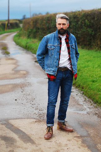 How to wear: blue denim jacket, red and black check long sleeve shirt, white henley shirt, navy jeans