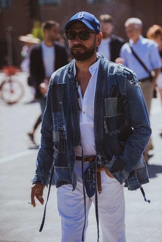 How to wear: blue patchwork denim jacket, white linen long sleeve shirt, white ripped jeans, blue print baseball cap