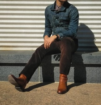 How to Wear Dark Brown Corduroy Jeans In Warm Weather For Men: This pairing of a navy denim jacket and dark brown corduroy jeans is proof that a safe casual outfit can still look really sharp. Complement this look with a pair of tobacco leather cowboy boots to make the getup more fun.