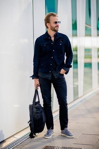Navy Denim Jacket Outfits For Men: If you're a fan of relaxed casual combos, then you'll like this combo of a navy denim jacket and navy jeans. When it comes to footwear, complement this ensemble with light blue canvas low top sneakers.
