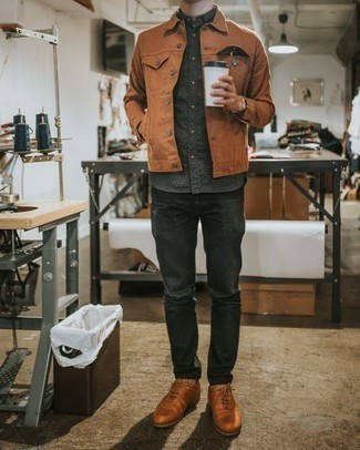 Charcoal Jeans Outfits For Men: Perfect the casual and cool ensemble by opting for a tobacco denim jacket and charcoal jeans. Add a pair of tobacco leather low top sneakers to your look for extra fashion points.