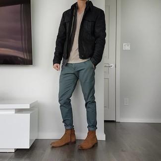 Brown Suede Casual Boots Outfits For Men: Dress in a black denim jacket and dark green chinos to pull together an interesting and current off-duty ensemble. Perk up your look by rocking brown suede casual boots.