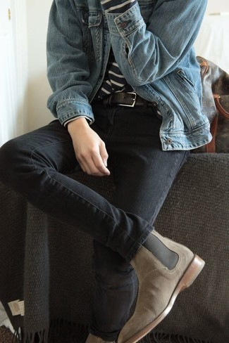 How to Wear a Light Blue Denim Jacket For Men: Why not try pairing a light blue denim jacket with charcoal jeans? As well as very comfortable, these pieces look amazing when worn together. For something more on the dressier side to finish off this outfit, add a pair of beige suede chelsea boots to the equation.