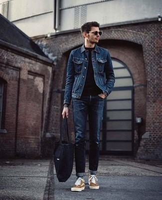 How to Wear a Blue Denim Jacket For Men: Look on-trend without exerting much effort by wearing a blue denim jacket and navy jeans. Get a little creative on the shoe front and dress down your ensemble by wearing a pair of tan canvas high top sneakers.