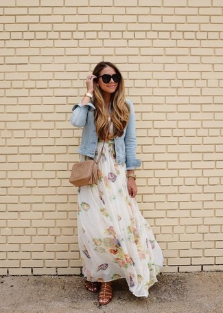 We all look for comfortwhen it comes to dressing up, and this combination of a light blue denim jacket and a white floral maxi dress isa great illustration of that. Michael Kors Michl Kors Jocelyn Luggage Leather Flat Sandal look awesome here. There are plenty of ways to look good and get through the blazing hot weather, and that's one of them.
