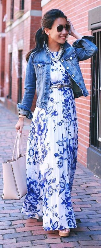 How to wear: blue denim jacket, white and blue floral maxi dress, beige leather tote bag, black sunglasses