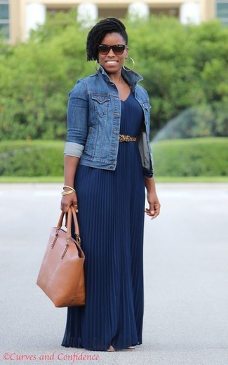 ae768cc32 ... Women's Blue Denim Jacket, Navy Pleated Maxi Dress, Tan Leather Tote Bag,  Tan