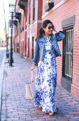 2eeca192c ... Women's Blue Denim Jacket, White and Blue Floral Maxi Dress, Pink  Leather Tote Bag