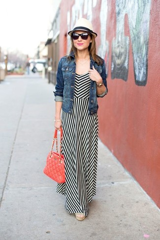How to wear: blue denim jacket, white and black vertical striped maxi dress, beige canvas wedge sandals, red quilted leather satchel bag