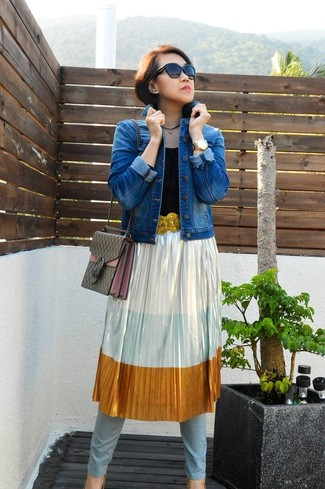 Women's Blue Denim Jacket, Silver Pleated Midi Skirt, Light Blue Skinny Jeans, Gold Sequin Heeled Sandals