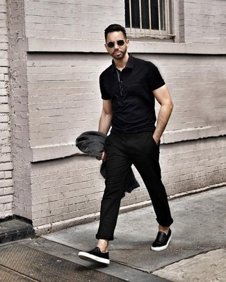 Men's Looks & Outfits: What To Wear Casually: Go for a charcoal denim jacket and black chinos for a laid-back kind of elegance. When not sure about what to wear in the footwear department, stick to a pair of black leather slip-on sneakers.