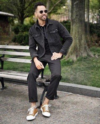 Men's Looks & Outfits: What To Wear Casually: This pairing of a charcoal denim jacket and black chinos will prove your expertise in men's fashion even on weekend days. You could perhaps get a bit experimental in the shoe department and complete your outfit with a pair of tan canvas low top sneakers.