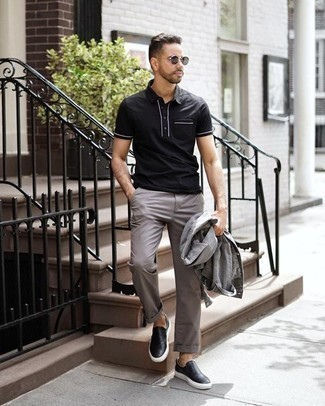Men's Looks & Outfits: What To Wear Casually: For relaxed dressing with a contemporary spin, consider pairing a grey denim jacket with grey chinos. Black leather slip-on sneakers integrate perfectly within a myriad of combinations.
