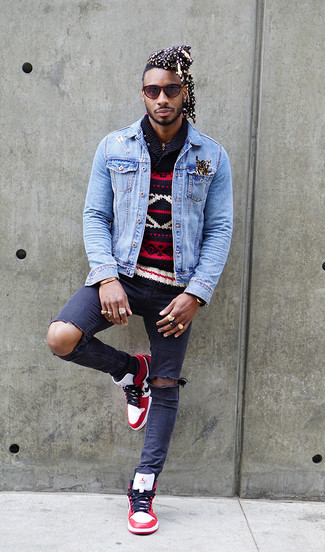 If you're a fan of staying-in clothes which are stylish enough to wear out, try this combination of a light blue denim jacket and navy ripped skinny jeans. Balance this getup with white and red leather high top sneakers. The much awaited spring calls for standout ensembles just like this one.