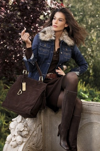 How to wear: navy denim jacket, dark brown knit sheath dress, dark brown suede knee high boots, dark brown suede tote bag