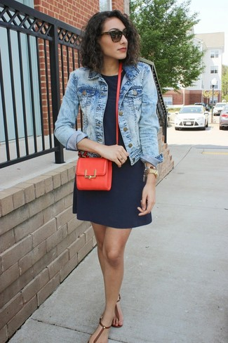 A light blue acid jean jacket and a deep blue shift dress are both versatile essentials that will give your outfits a subtle modification. A pair of dark brown leather thong sandals will be a stylish addition to your outfit.