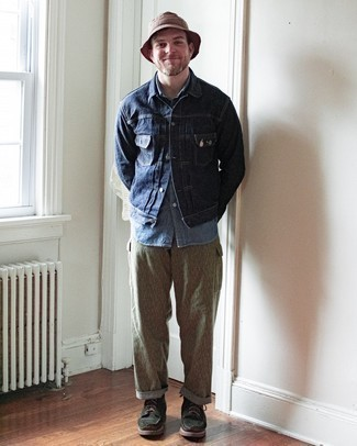 Navy Denim Jacket Outfits For Men: Perfect the laid-back and cool look in a navy denim jacket and khaki cargo pants. Add a pair of dark green suede casual boots to this ensemble to instantly change up the look.