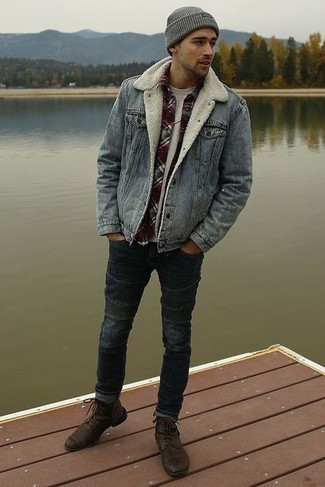Charcoal Jeans Outfits For Men: Wear a grey denim jacket and charcoal jeans if you want to look casually cool without too much effort. Bump up your outfit by sporting a pair of dark brown leather casual boots.