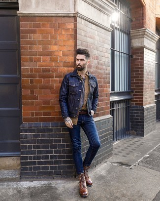 Brown Leather Casual Boots Outfits For Men: For an outfit that's pared-down but can be flaunted in a variety of different ways, marry a navy denim jacket with navy skinny jeans. Complete this getup with a pair of brown leather casual boots to instantly turn up the style factor of this getup.