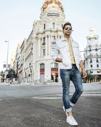 How to Wear White No Show Socks For Men: Busy off-duty days call for a straightforward yet laid-back and cool look, such as a white denim jacket and white no show socks. If you wish to easily up the ante of this outfit with shoes, complete your getup with white canvas low top sneakers.