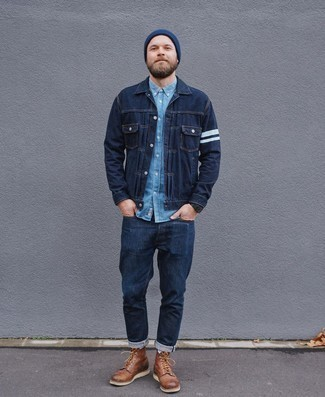 Brown Leather Casual Boots Outfits For Men: A navy denim jacket and navy jeans will bring serious style to your day-to-day off-duty rotation. For something more on the smart end to round off this outfit, introduce brown leather casual boots to the mix.