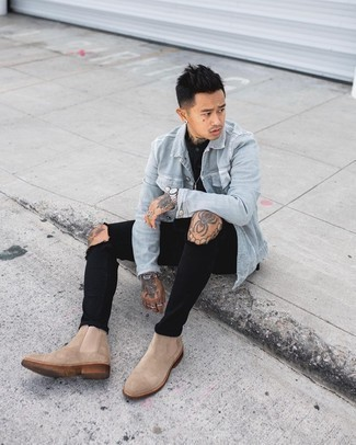 Tan Suede Chelsea Boots Outfits For Men: A grey denim jacket and black ripped skinny jeans are a good combo to be utilised on off-duty days. On the fence about how to finish off your look? Wear a pair of tan suede chelsea boots to class it up.