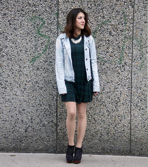 f9076e21b321a How to wear: light blue denim jacket, dark green plaid skater dress, black