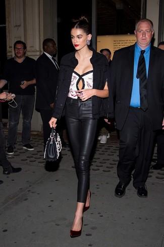 How to wear: black denim jacket, white sequin sleeveless top, black leather skinny pants, burgundy velvet pumps