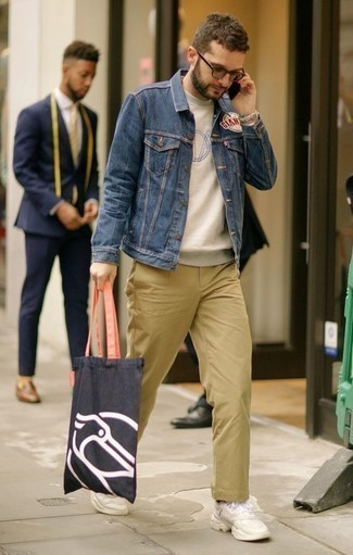How to Wear Beige Athletic Shoes For Men: Pairing a blue denim jacket with khaki chinos is an awesome idea for a relaxed casual look. Beige athletic shoes are an effective way to add a little kick to the look.