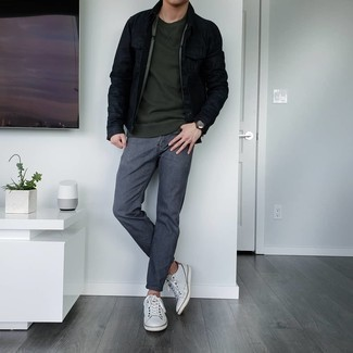 Charcoal Jeans Outfits For Men: Perfect the cool and casual ensemble in a black denim jacket and charcoal jeans. If you're puzzled as to how to finish off, add a pair of white leather low top sneakers to the mix.