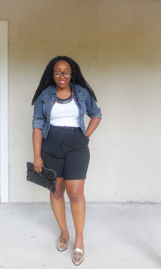 How to wear: navy denim jacket, white tank, black bermuda shorts, gold leather loafers