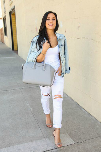 How to wear: light blue denim jacket, white tank, white ripped boyfriend jeans, grey leather heeled sandals