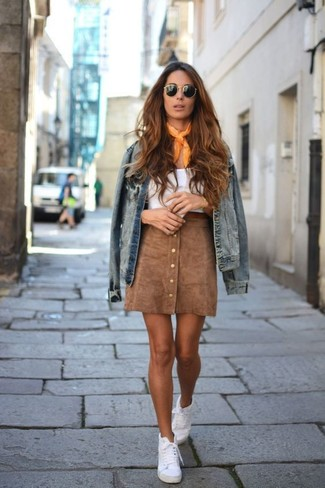 How to wear: blue denim jacket, white tank, brown suede button skirt, white high top sneakers
