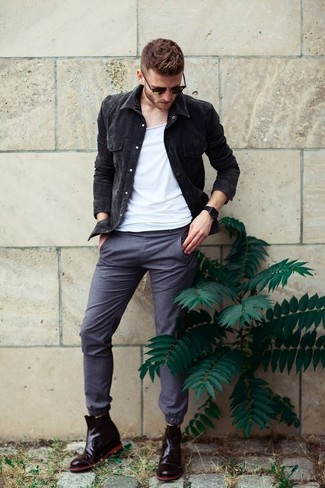 How to wear: black denim jacket, white tank, grey chinos, black leather chelsea boots