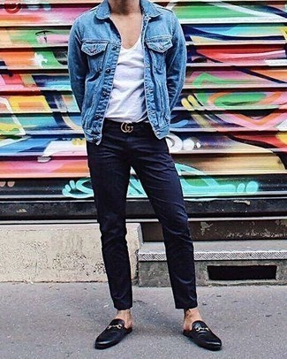 Men's Looks & Outfits: What To Wear In 2020: A blue denim jacket and navy chinos are veritable menswear staples if you're picking out a casual closet that holds to the highest style standards. Feeling inventive today? Dress up this look with a pair of black leather loafers.