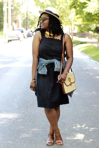How to wear: blue denim jacket, black crochet tank dress, tan leather flat sandals, tan straw crossbody bag