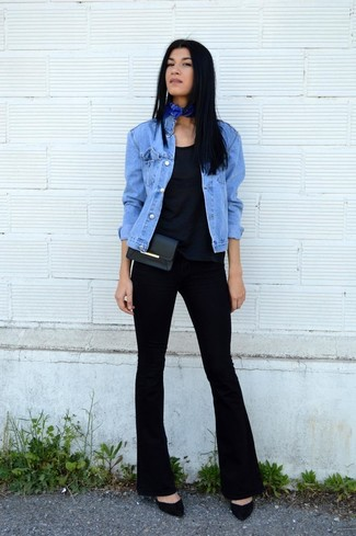 A blue jean jacket and black flare pants is a versatile combination that will provide you with variety. Dress up this look with black suede pumps.